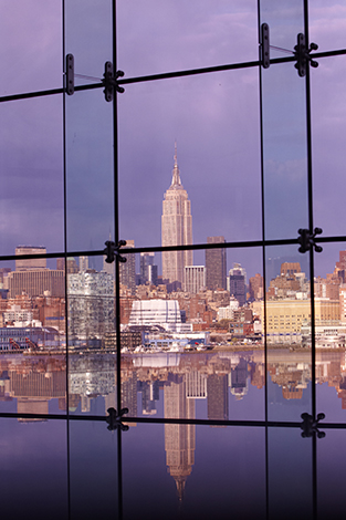 The Empire State Building in New York City can be clearly seen from the Babbio Center at Stevens.