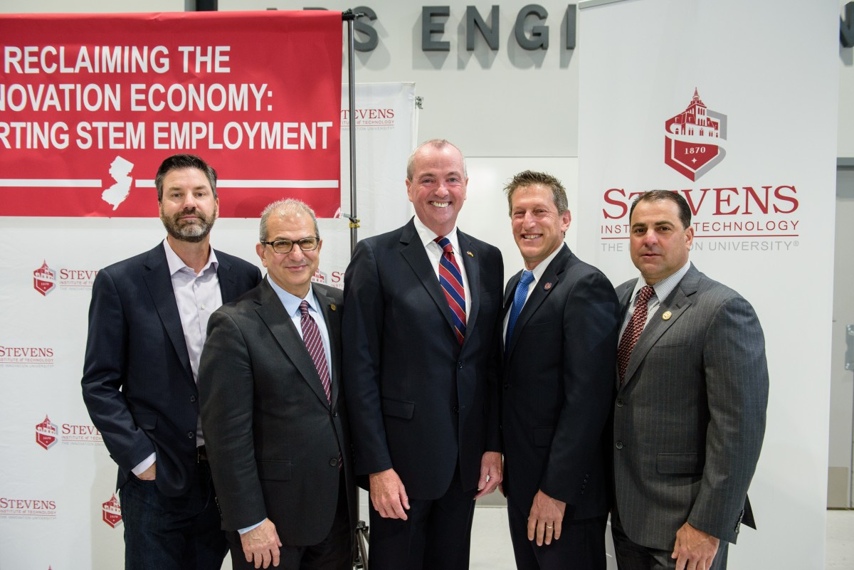 left to right: WorkWave CEO Chris Sullens, President Nariman Farvardin, Governor Phil Murphy, Assemblyman Andrew Zwicker and Senate Deputy Majority Leader Paul Sarlo