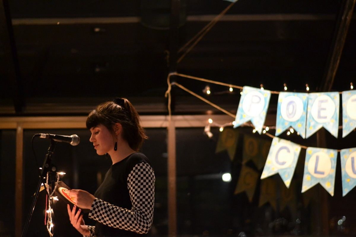 Visual arts and Technology senior Kelly McGowan at a poetry event