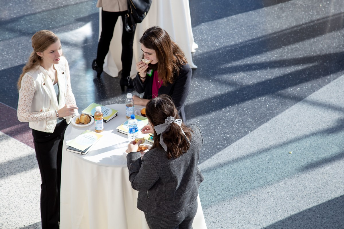 Attendees at the welcome reception in the Babbio atrium