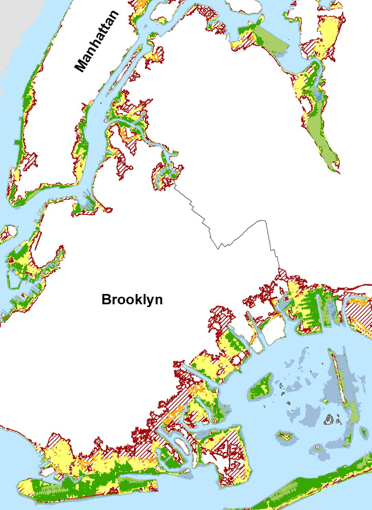 Map showing New York City's monthly floods
