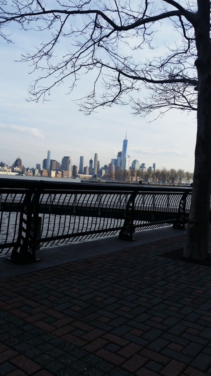 A view of the NYC skylike and Hudson River from Hoboken, N.J