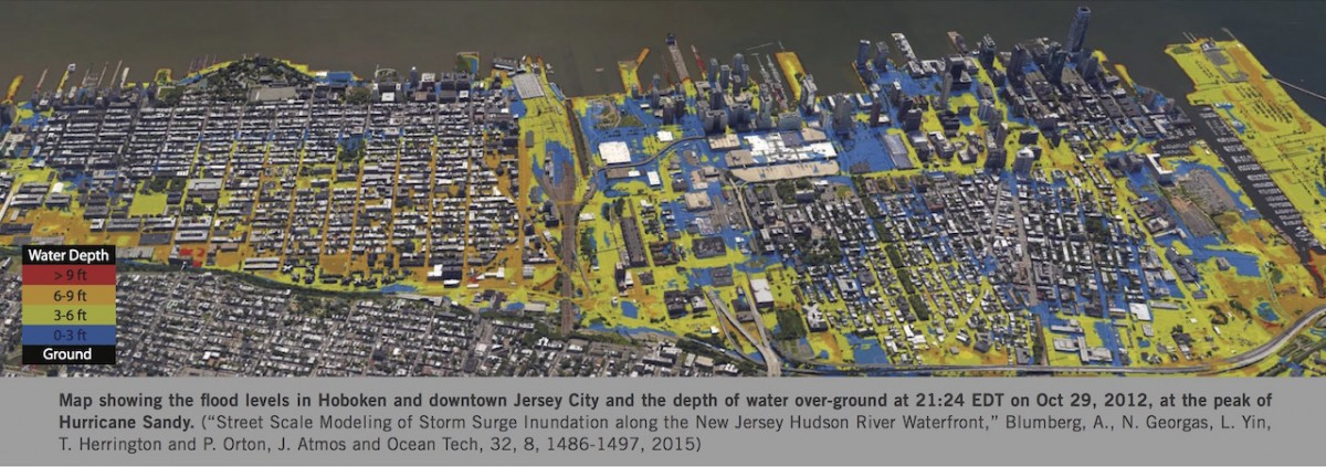 Map showing flood levels in Hoboken and downtown Jersey City at the peak of Hurricane Sandy