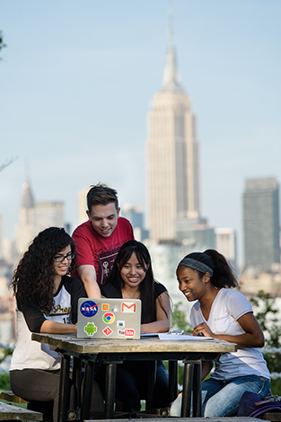 Students studying on the Stevens campus.