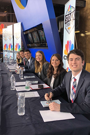 The six students on the draft floor at CNBC's studio.