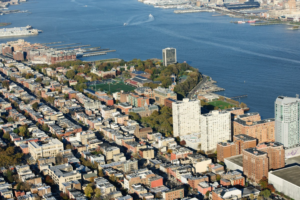 aerial view of Hoboken and Stevens campus