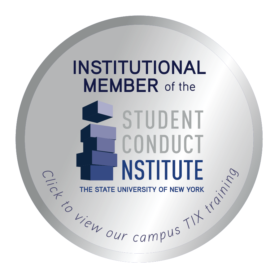 Institutional Member of the Student Conduct Institute. The State University of New York. Click to view our campus TIX training