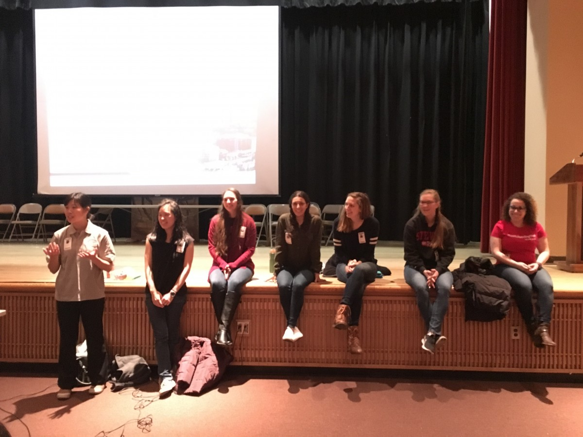 From left to right: Stevens professors Maxine Fontaine and Stephanie Lee with students Carly LaGrotta, Jovanna Manzari, Cassie Nicholas, Sara Poor and Gianna Ortiz