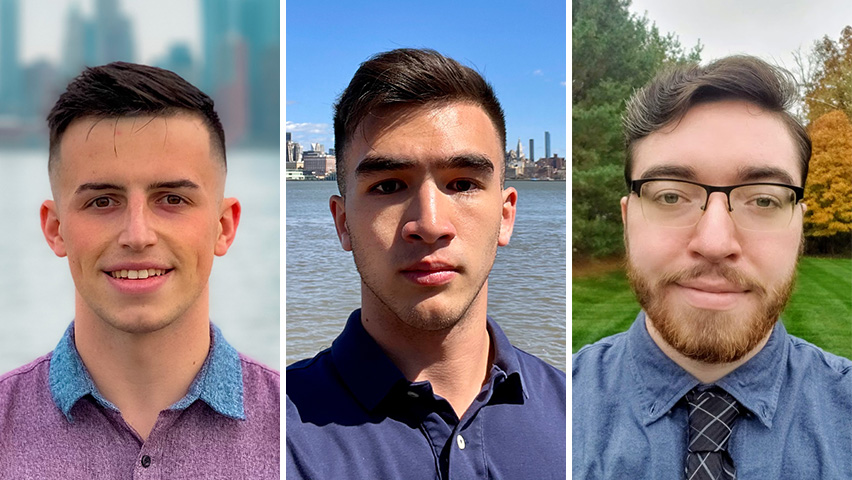 Portraits of three male students.