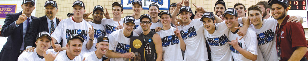 Men's Volleyball Team Posing with NCAA Trophy