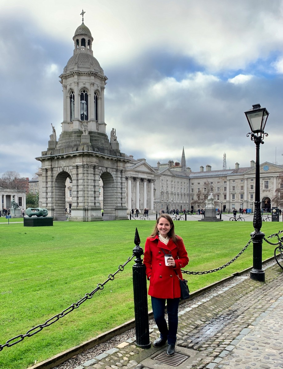 Janice Frontera outside Trinity College