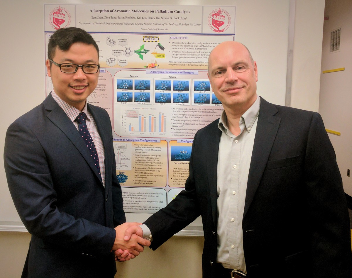 ao Chen congratulated by his advisor, Prof. Simon Podkolzin, for winning the 2017 best research presentation award by the Catalysis Society of Metropolitan New York