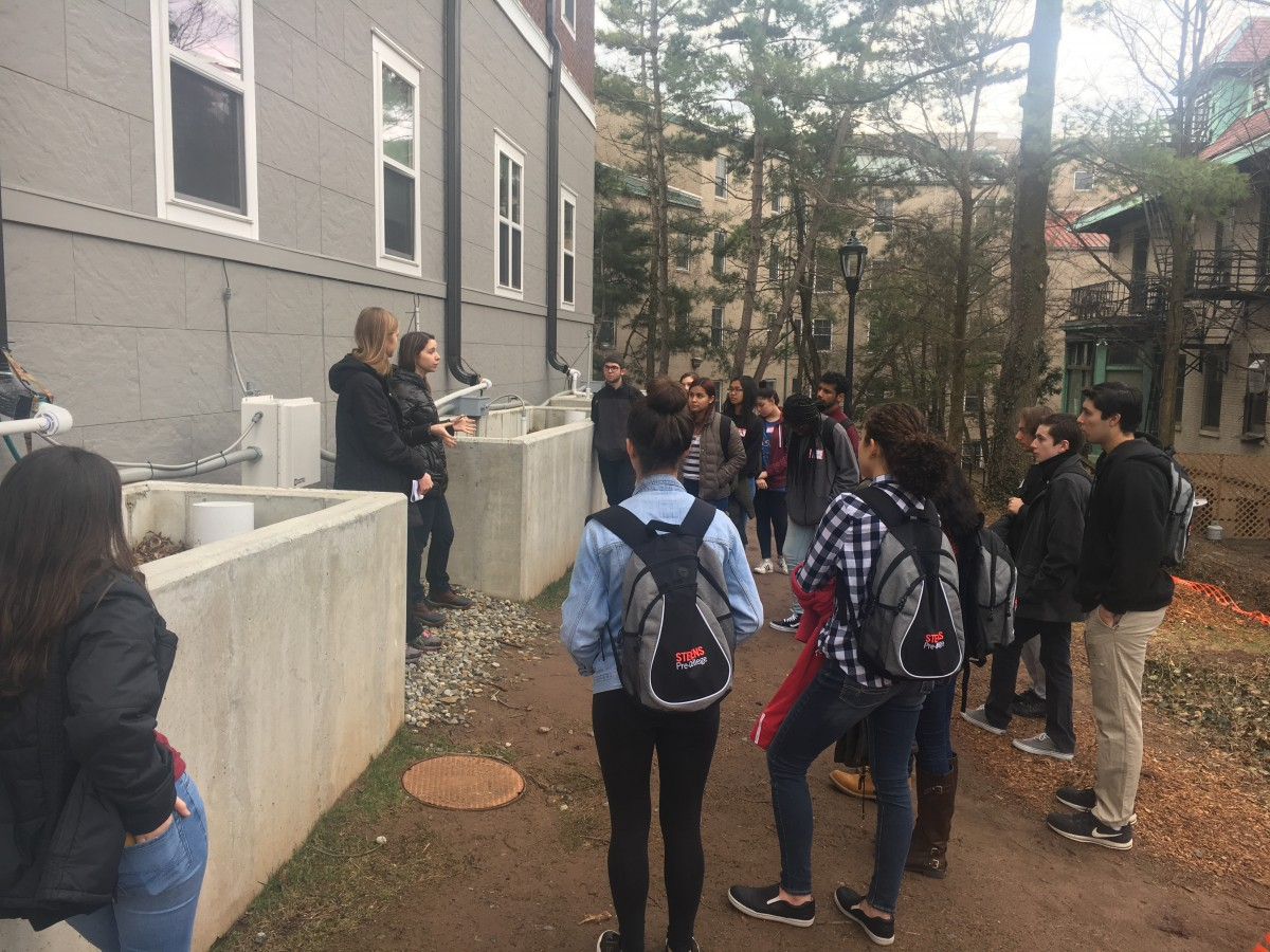Peer education--Stevens civil engineering student Maryia Spirydonava explains bioretention planters to visiting high school students sometime last winter
