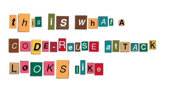 A cut and paste ransom note illustrating a code-reuse attack. CREDIT: Ransomizer.com