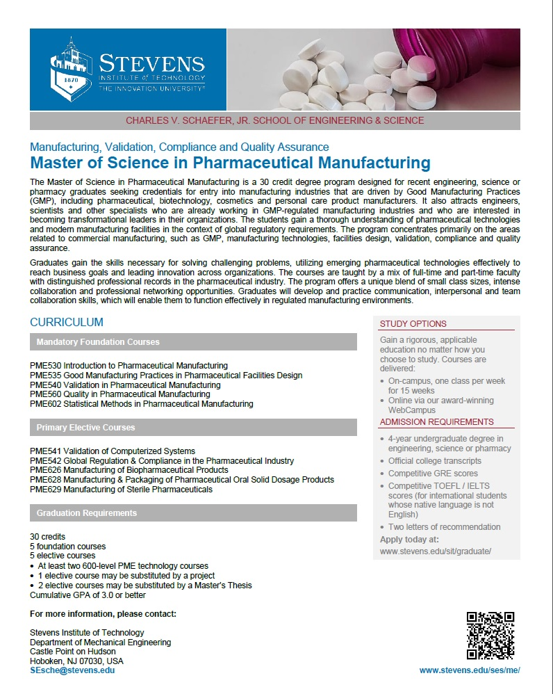 PME Master's Course Overview One-Sheet