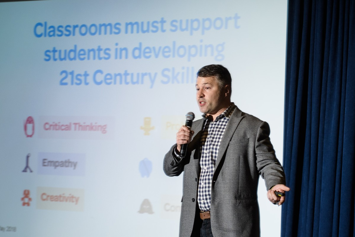C. Ross Flat speaking at the Reimagining Math Education conference. CREDIT: Jeff Vock