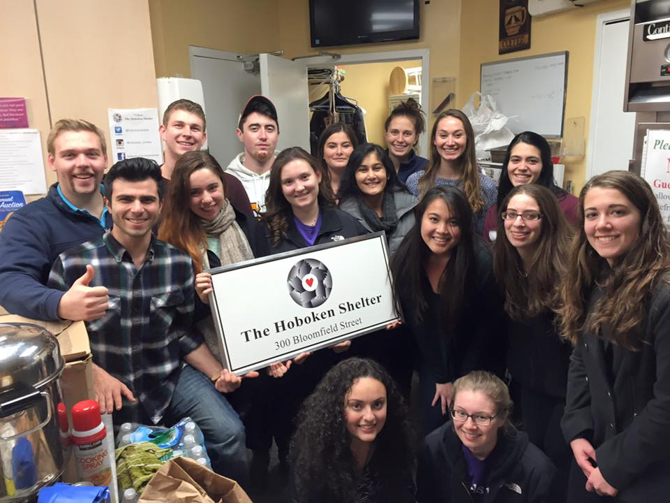 Stevens students volunteering at The Hoboken Shelter for the homeless