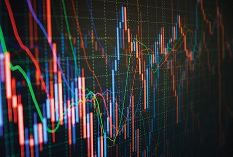 Graphic showing stock prices data visualization.