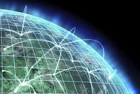 The world, with interconnected networks highlighted.