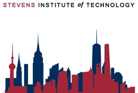 Stevens Institute of Technology listed on top with skyline of building in the front in red and buildings in the back in blue.