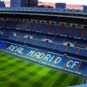 Photo of a sunset over Real Madrid's football stadium.