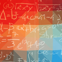 Stevens Math Olympiad image - rainbow gradient background with white mathematical formulas.
