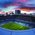 Photo of a sunset over Real Madrid's football stadium