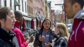 Students talking on Washington Street
