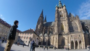 student next to St. Vitus Cathedral in Prague, Czech Republic