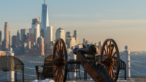 Stevens cannon overlooking the Freedom Tower and downtown NYC
