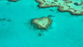 aerial image of heart shaped tropical island