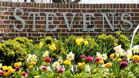 Stevens campus with flowers