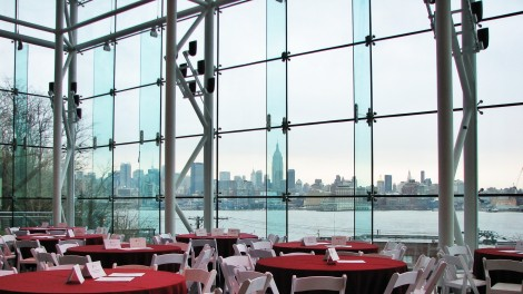 Manhattan skyline view from Babbio atrium