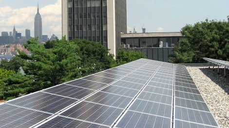 Solar panels on Stevens campus