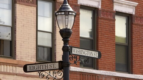 Hoboken street lamp and brownstones
