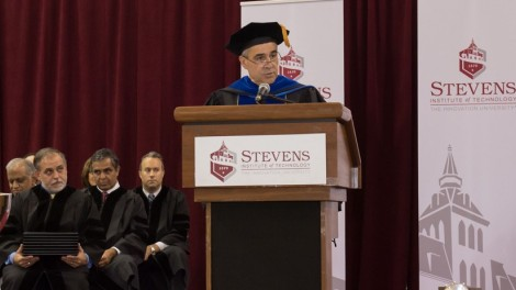 Provost Christophe Pierre speaks at Convocation 2017 at Stevens.