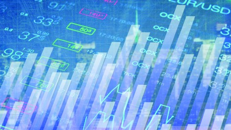 Abstract image of bar graphs and financial indicators