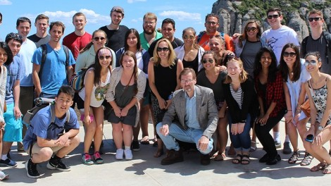 Stevens students and faculty pose for a group photo during a cultural visit in Spain.