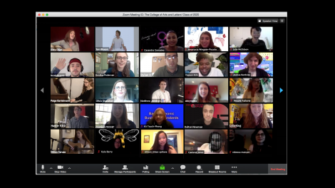 Graphic showing the College of Arts and Letters' Class of 2020 on Zoom meeting call