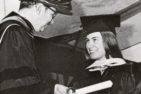 Lenore Schupak receiving her diploma at commencement