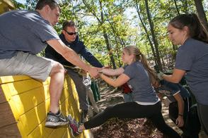 Students are challenged to go outside their comfort zones and develop closer ties to other members of their cohort at the leadership retreat.