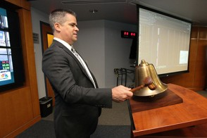John Schwall, COO of IEX Group, rings the bell to start Trading Day.