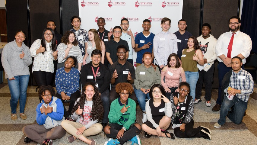 A group of students representing many ethnic and racial groups. They represent the first cohort of ACES students attending Stevens Pre-College Program.