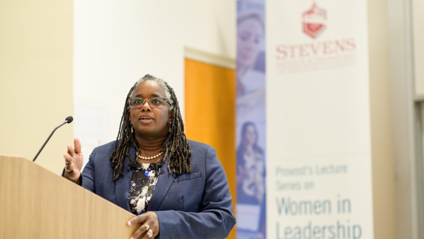 Dr. Menah Pratt-Clarke speaks as part of the Provost's Lecture Series on Women in Leadership