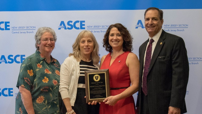 Fassman-Beck honored at the 2018 ASCE New Jersey awards dinner. Stevens attendees from left to right: Robbie Cohen, Leslie Brunell, Elizabeth Fassman-Beck, and Bob Maffia