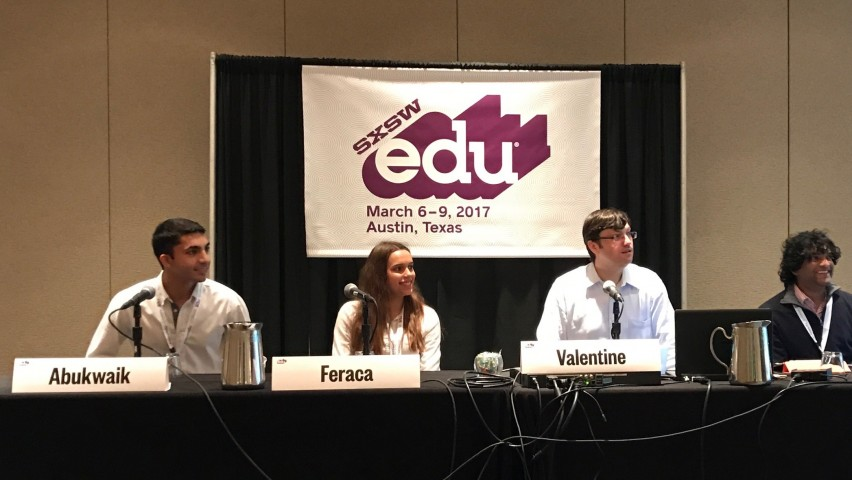 Panelists at SXSWedu: Abe Abukwaik, student at Stevens Institute of Technology and founder of BluTours; Sara Feraca, student at Duke University; Steve Valentine, Montclair Kimberley Academy; Reshan Richards, Teachers College, Columbia University