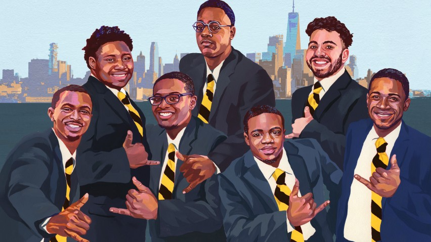 Illustration of the seven members of Alpha Phi Alpha fraternity wearing suits in front of the Manhattan skyline.