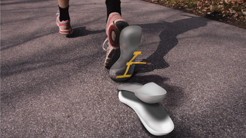 An image of a sneaker on a foot. Underneath the sneaker is an idealized image of two insoles.