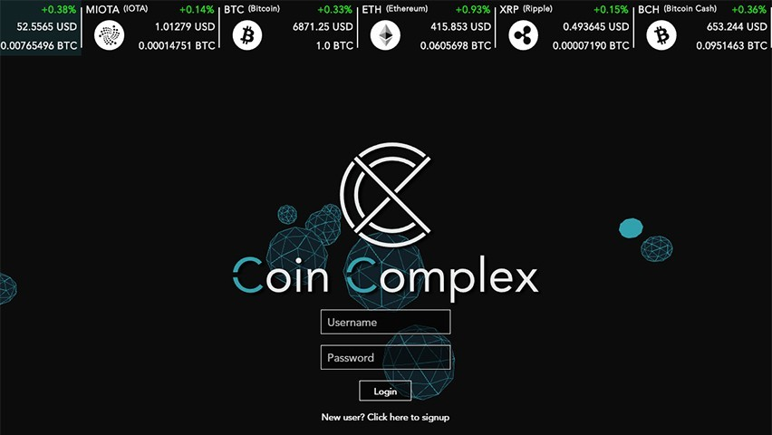 The start screen for Coin Complex.