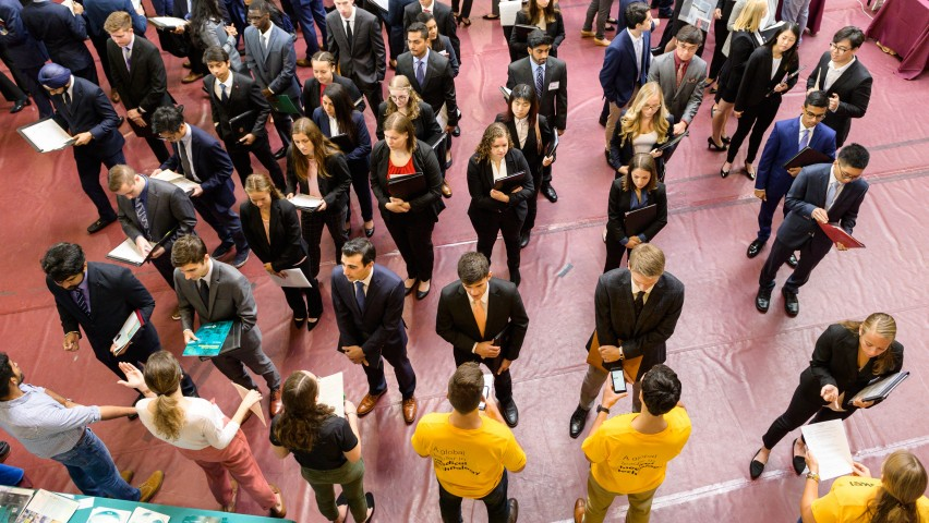 Inside Walker Gym where hundreds of students line up to speak to recruiters